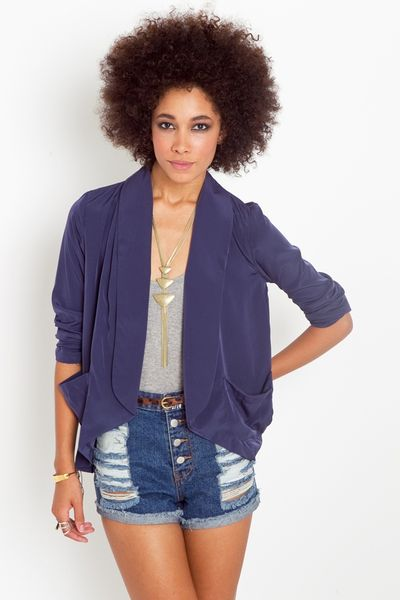 Nasty Gal Draped Pocket Blazer in Blue (navy) - Lyst