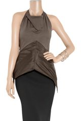 Rick Owens Jersey and Duchesssatin Halterneck Top in Brown - Lyst