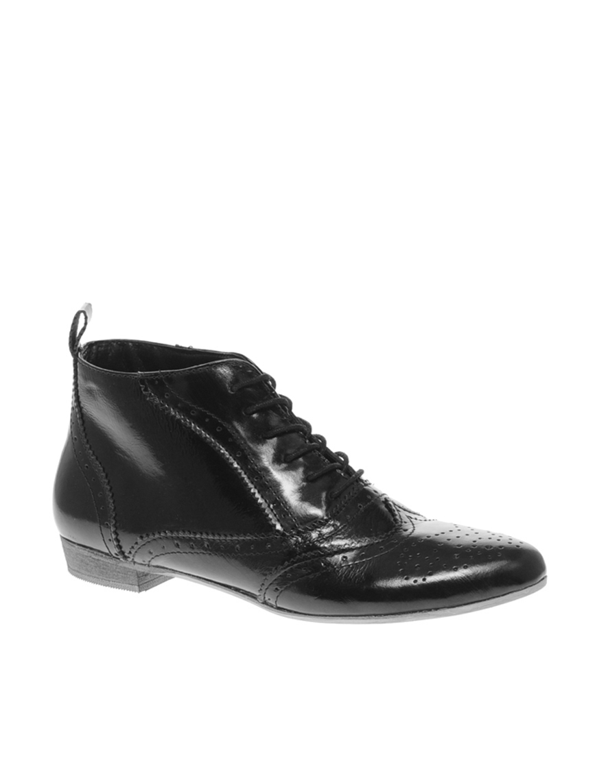 asos a allsort leather shortie lace up flat ankle boot in