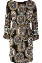 Marchesa Beaded Silk Dress in Multicolor (black) - Lyst