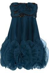 Marchesa Pleated Silk-Organza Dress - Lyst