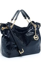 Michael Kors Jet Set Chain Shoulder Tote Pythonembossed  in Black (jet) - Lyst