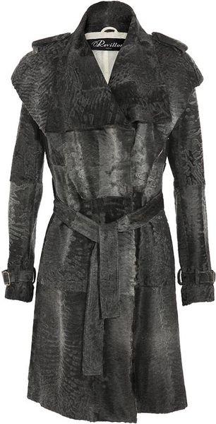 Revillon Persian Lamb Trench Coat With Belt In Gray Grey
