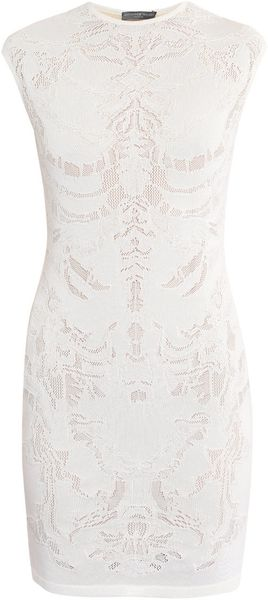 Alexander Mcqueen Engineered Lace Dress in White - Lyst