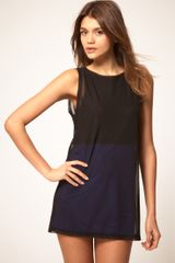 Asos Collection Asos Colour Block Tunic with Mesh Layering in Blue (black) - Lyst