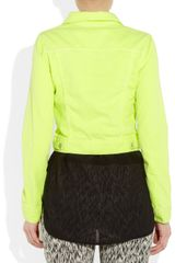 Christopher Kane Neon StretchDenim Jacket in Blue (denim) - Lyst