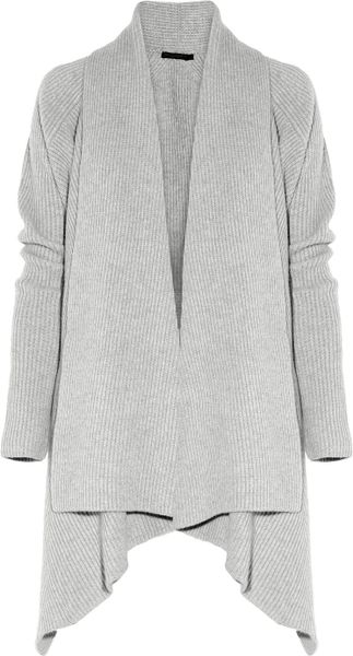 Donna Karan New York Oversized Ribbed Cashmere Cardigan in Gray - Lyst
