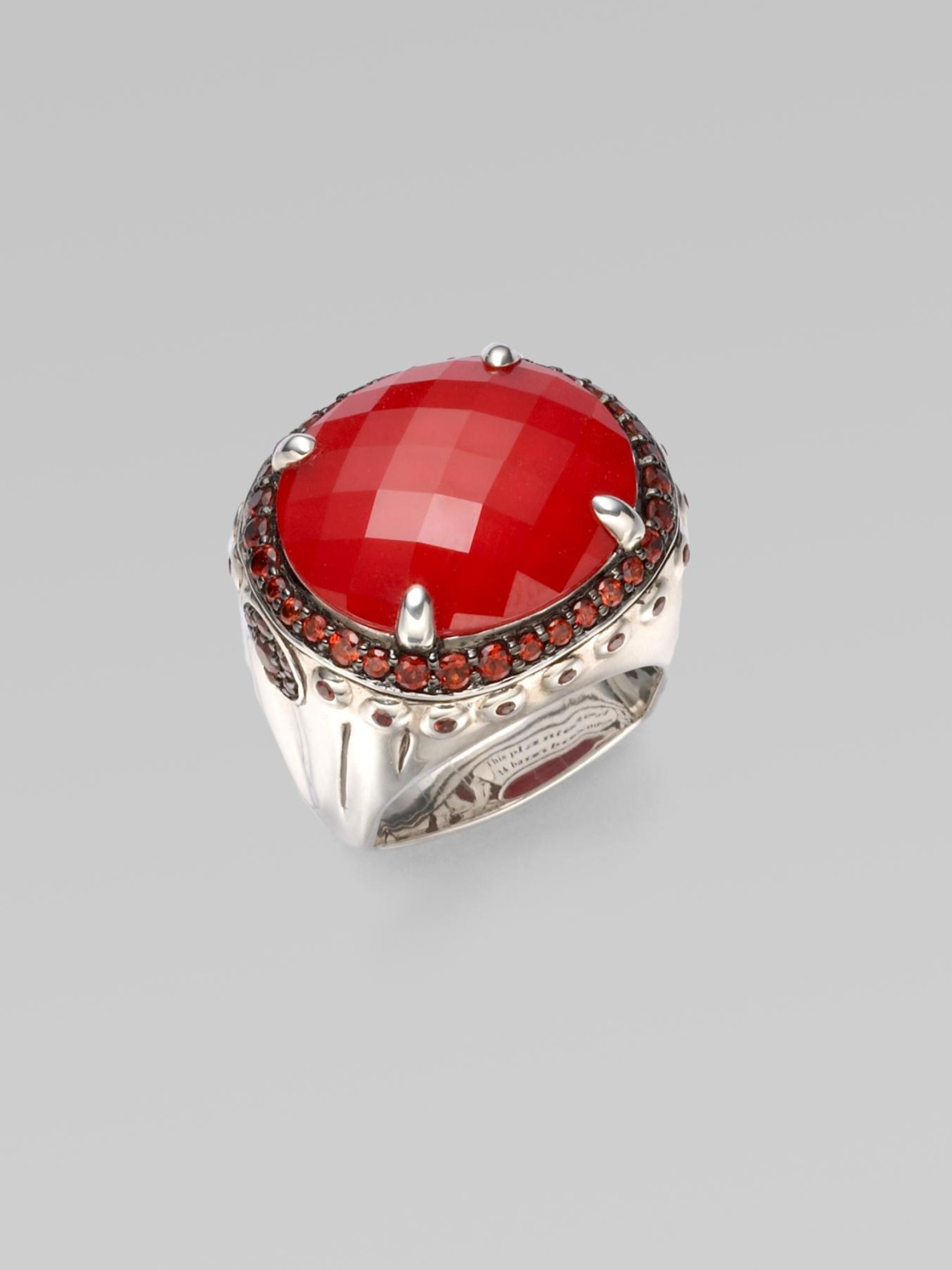 John Hardy Coral Garnet Sterling Silver Dome Ring In Red