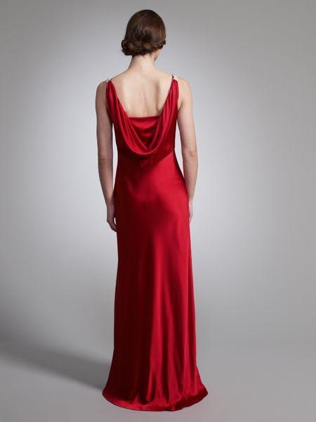 John Lewis Satin Cowl Back Long Dress In Red Lyst