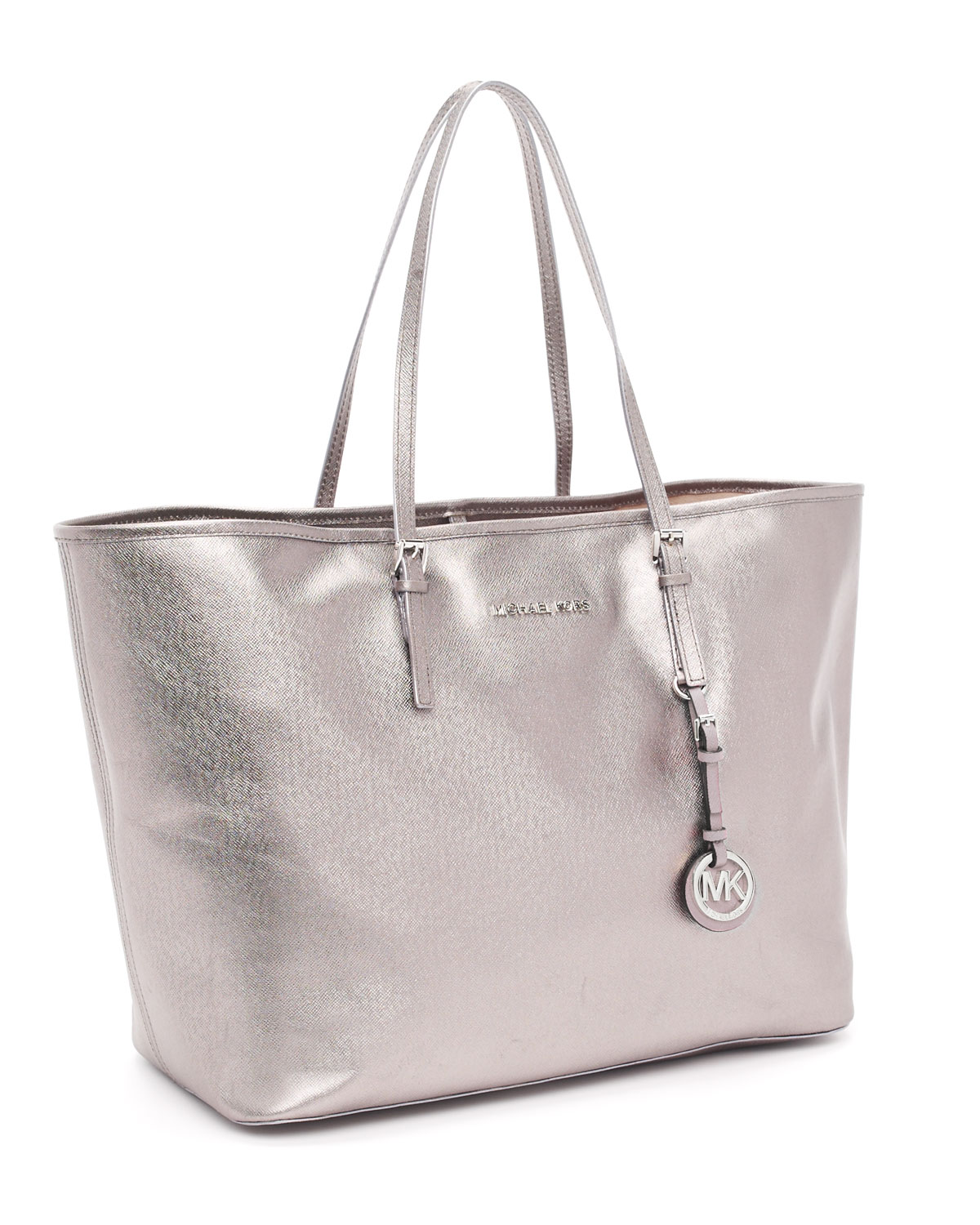 787a4269e42498 ... usa lyst michael michael kors medium jet set travel tote in metallic  e0510 cd8ff