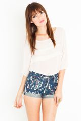 Nasty Gal Tiered Chiffon Top - Ivory - Lyst