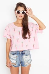 Nasty Gal Palm Trees Crop Tee - Lyst