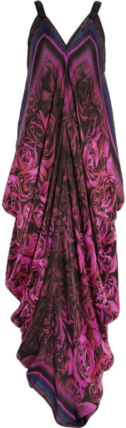 Roberto Cavalli Draped Floral-Print Silk-Chiffon Gown in Purple (floral)