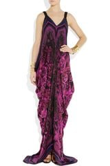 Roberto Cavalli Draped FloralPrint SilkChiffon Gown in Purple (floral) - Lyst