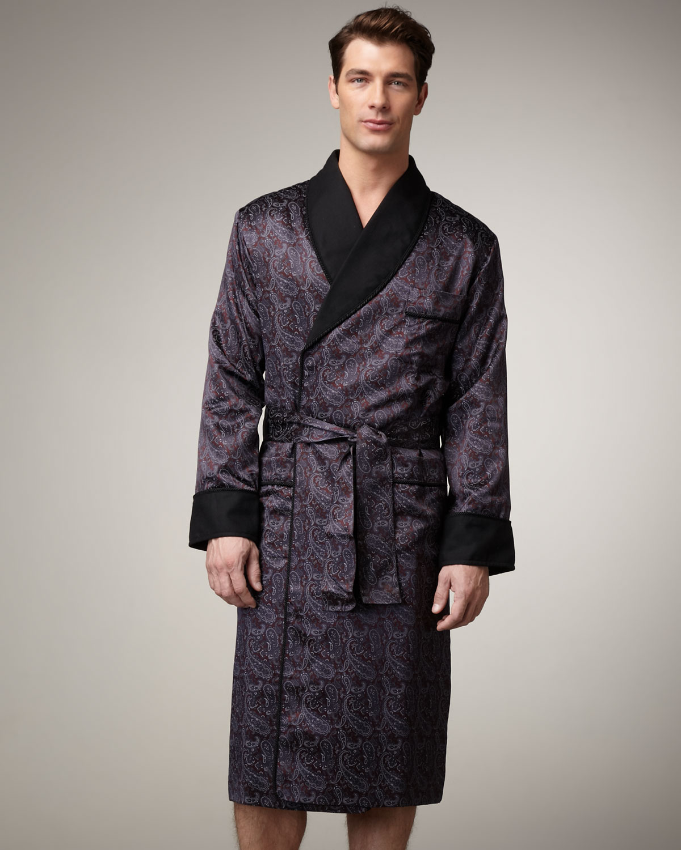 d3137ce6ad Lyst - Stefano Ricci Silk Paisley Robe in Black for Men