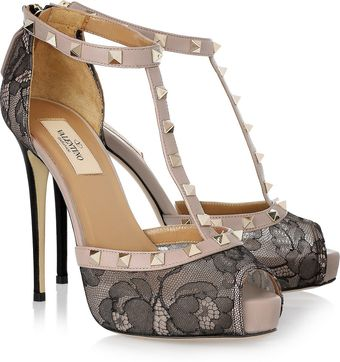 Valentino Studded Leather and Lace T-bar Pumps - Lyst