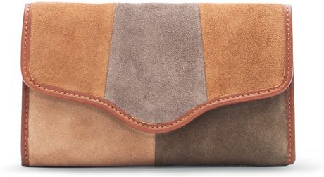Mango Color Block Leather Wallet in Brown (15) - Lyst