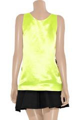 Miu Miu Pleated Satin Tank in Yellow - Lyst