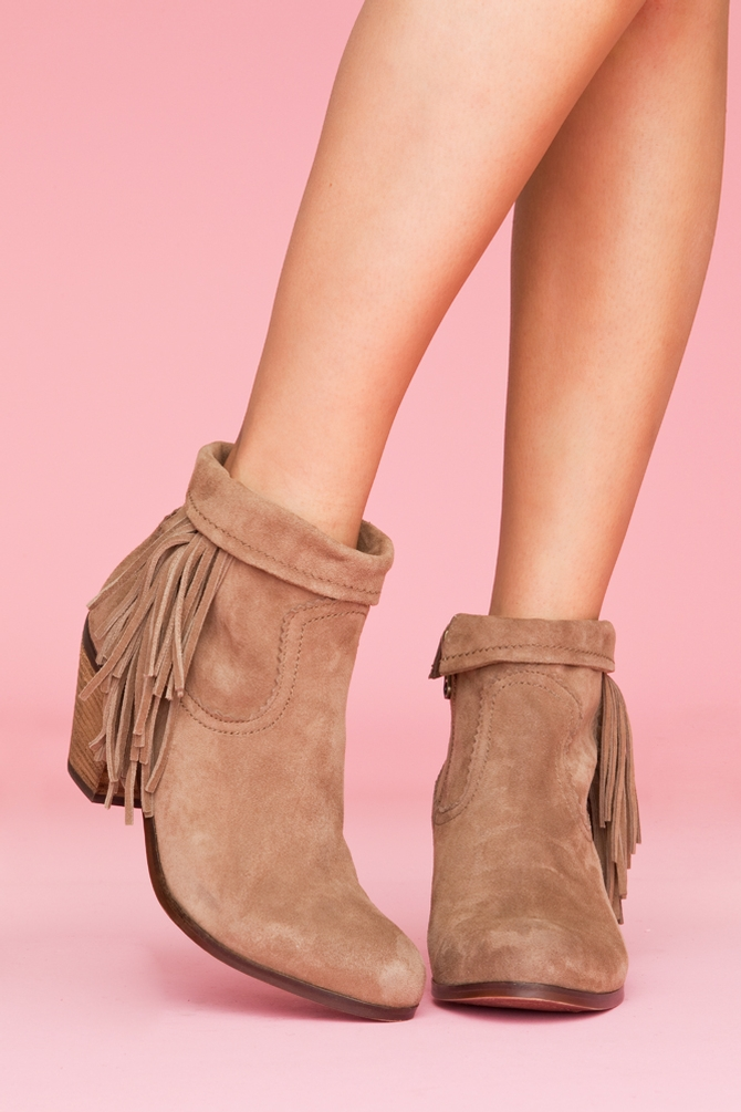 Nasty gal Louie Fringe Booties - Tan in Brown | Lyst