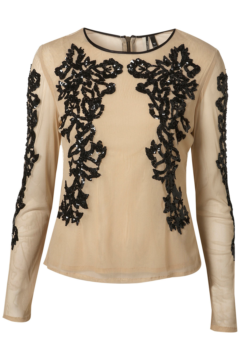 Lyst Topshop Long Sleeve Mesh Sequin Blouse In Natural