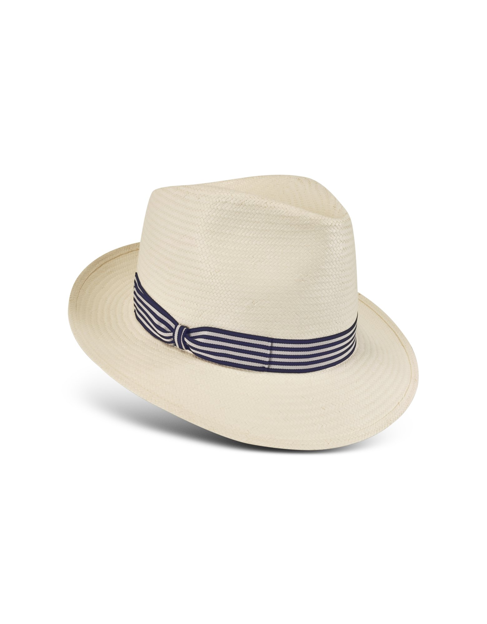 e7a1bee1a4b Lyst - Borsalino Blue and White Stripe Band Panama Hat in White