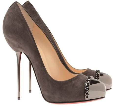 Christian Louboutin 'Metalipp' Suede and Gunmetal Pin Heels in Gray (grey) - Lyst