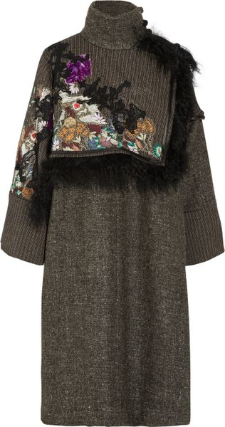 Etro ShearlingTrimmed Tweed Wrap Coat in Gray (anthracite) - Lyst