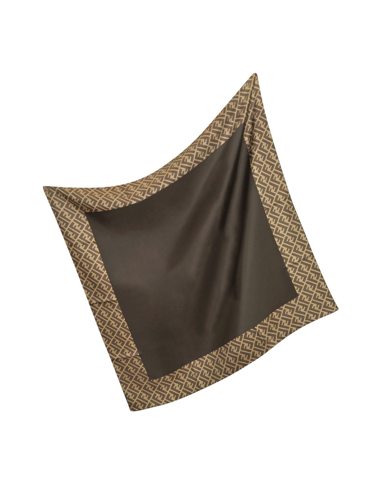fendi logo border silk twill square scarf in brown lyst