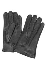 Forzieri Mens Cashmere Lined Black Italian Deer Leather Gloves - Lyst