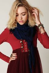 Free People Jack Frayed Scarf in Blue - Lyst