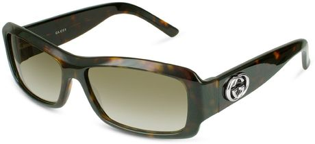 Gucci Gg Logo Plastic Rectangular Sunglasses in Black (silver)