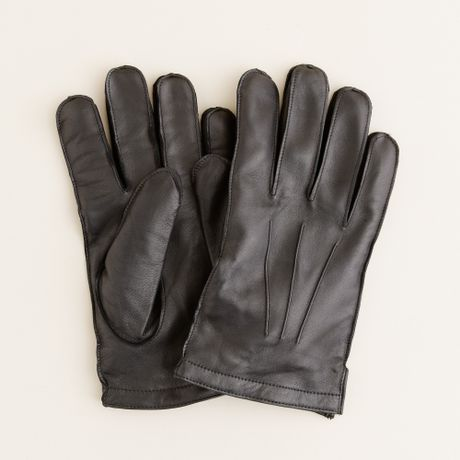 J Crew Cashmere Lined Leather Gloves In Black For Men