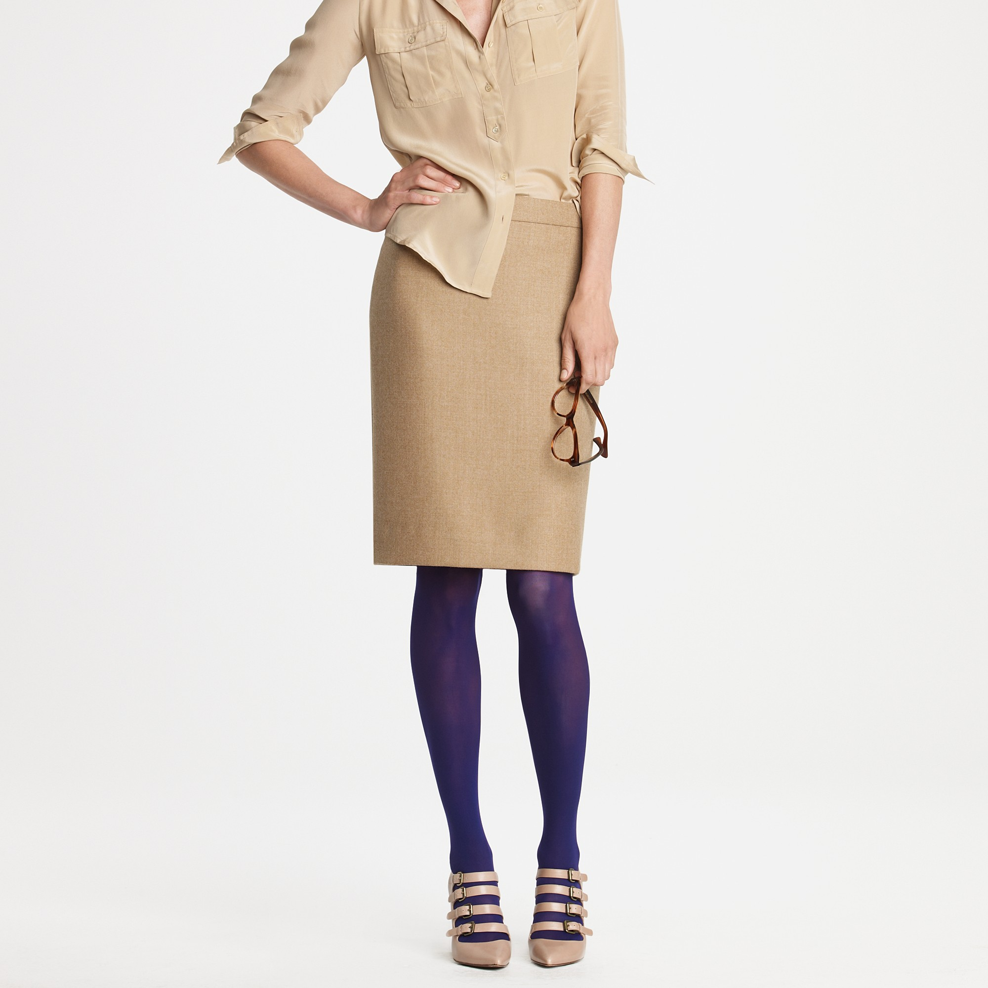 f585744efee Lyst - J.Crew Solid Opaque Tights in Purple