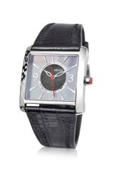 Kenzo Oki- Stainless Steel Square Watch with Black Leather Strap - Lyst