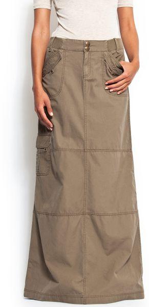 mango a line shape cargo style maxi skirt in khaki 35 lyst