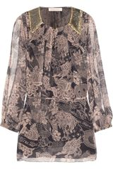 Matthew Williamson Embellished Printed Silk-chiffon Blouse - Lyst