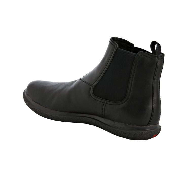 Prada Sport Black Leather Elastic Slip On Ankle Boots in Black for ...
