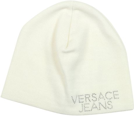 Versace Crystal Signature Wool Cap in White - Lyst