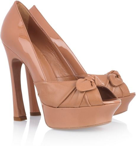 Saint Laurent Leather and Suede Platform Pumps in Brown - Lyst