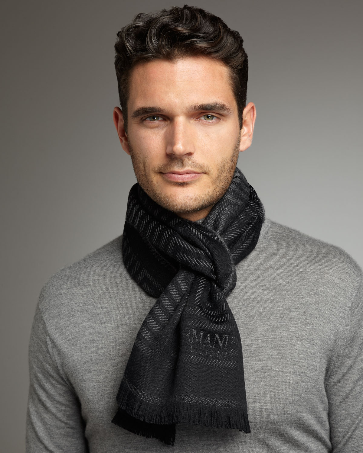 Scarfs Men Scarf And Casual On Pinterest Nice Scarves: Armani Herringbone Wool Scarf In Gray For Men