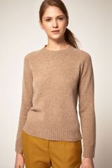 Boutique By Jaeger  Lambswool Crew Neck Knit with Contrast Elbow Patches