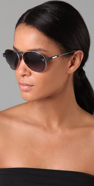 d38b49c110a7 Chloe Aviator Sunglasses With Leather Trim