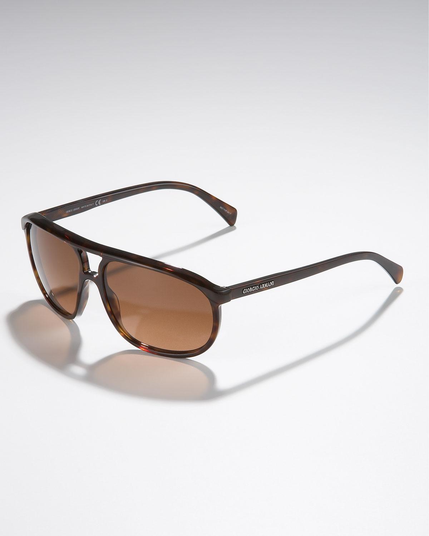 c81ff7c881e3 Giorgio Armani Round Plastic Aviator Sunglasses, Dark Havana in ...