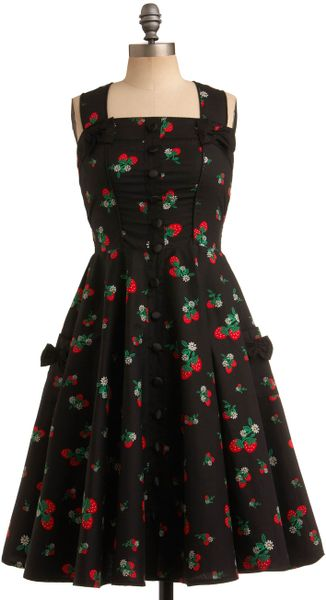 Modcloth Sweet Temptation Dress in Strawberries in Black - Lyst