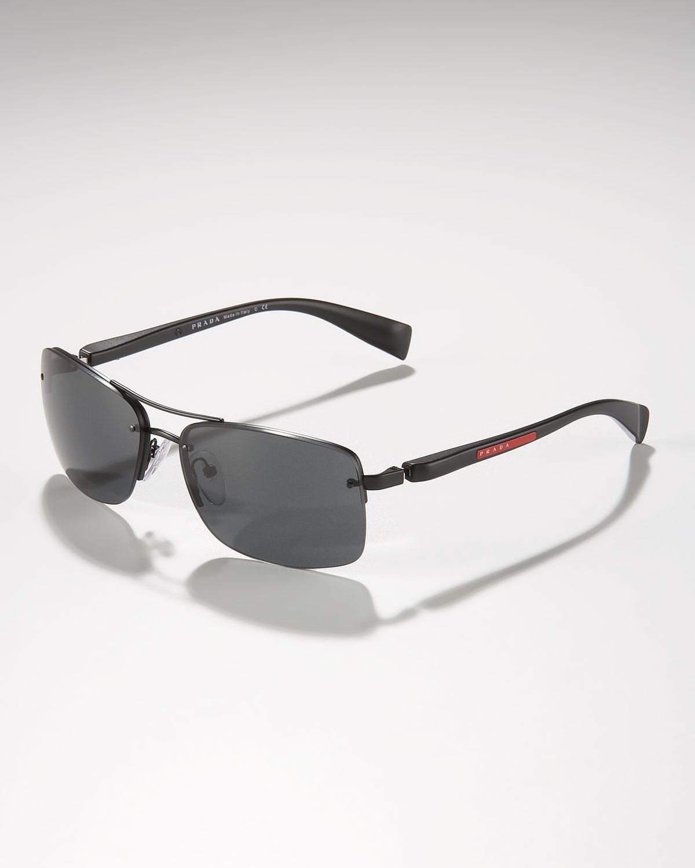 edc34048eb Lyst - Prada Rimless Shield Sunglasses in Black for Men