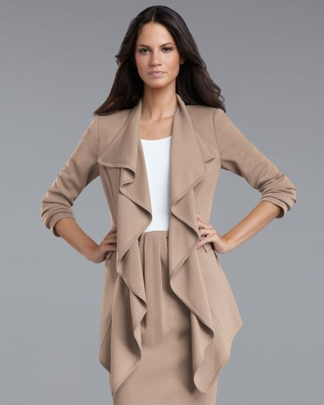 St. John Collection Milano Ruffle Jacket in Beige - Lyst
