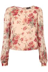 Topshop Long Sleeve Rose Print Blouse - Lyst