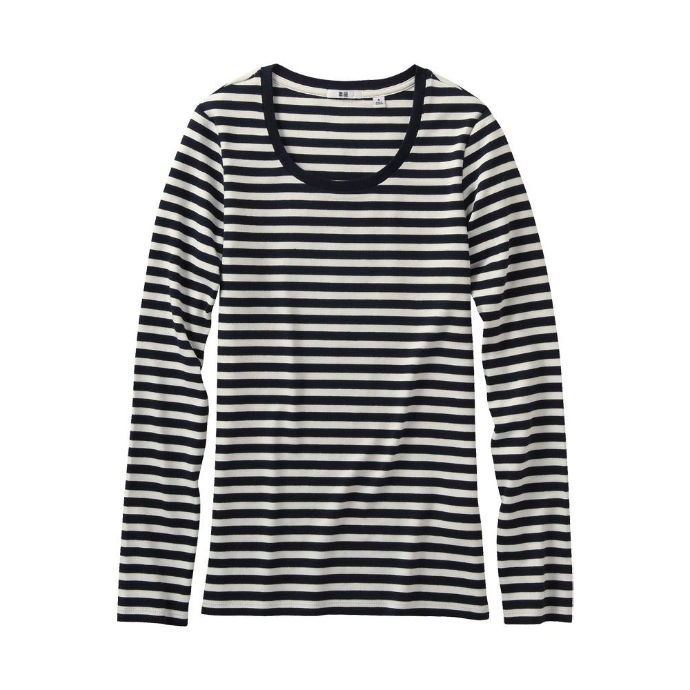 Uniqlo Women Striped Crew Neck Long Sleeve T Shirt In