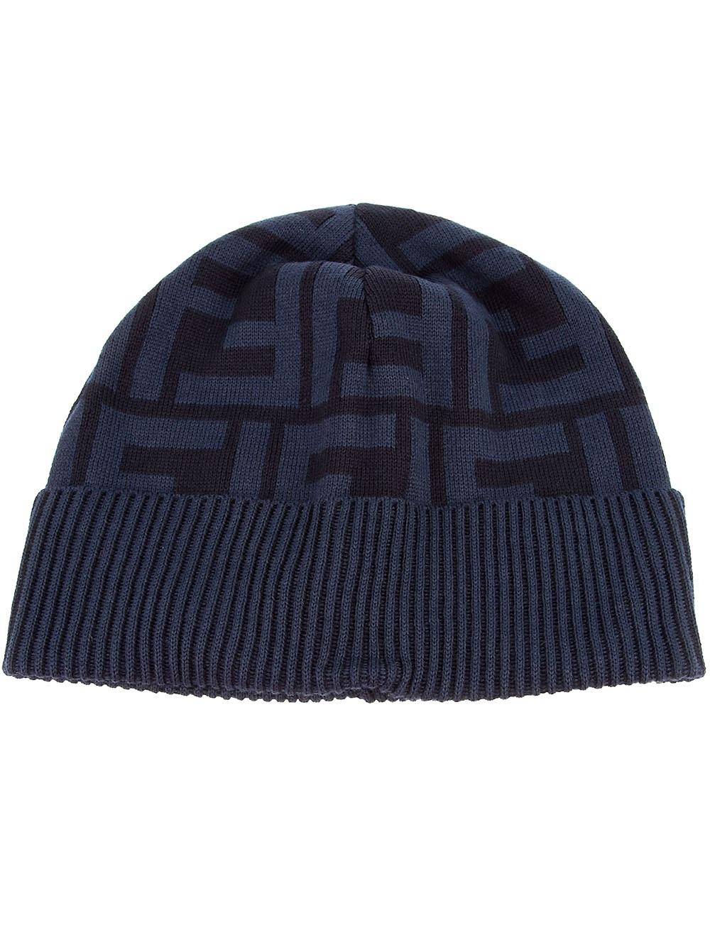 fendi monogrammed hat in blue for men