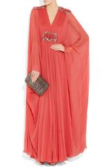 Marchesa Appliquéd silkchiffon gown in Pink (red) - Lyst